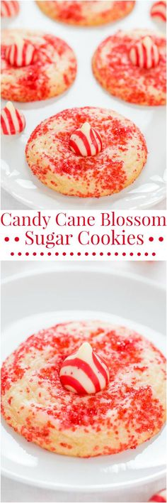 Candy Cane Blossom Sugar Cookies - Soft, chewy, and so easy!! The sprinkles make them totally irresistible! Santa's going to love these!!