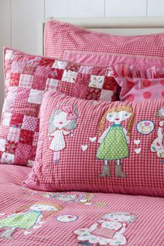 Pink and Red Dolls Duvet Cover and Pillow Case by Room Seven