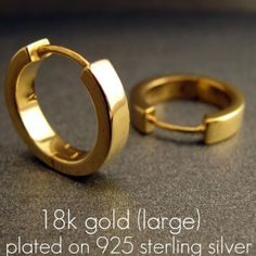 Men S Hoop Earrings Electric Gold Large For Plated E190sy