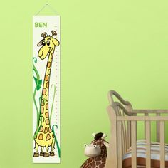 "DETAILS: Growing Giraffe --- Kids grow up so quickly! Use our Personalized Kids Height Chart Canvases to track their progress. Available in a number of playful designs, these kid-friendly charts are a perfect accent for their bedroom or playroom wall. SIZE: Charts measure approx. 43 1/2"" - 45"" long by 8 1/2"" - 10"" wide. Height measurements start at 24 inches and goes to 60 inches. PERSONALIZATION: Personalize with one line of up to 10 characters. See more at: www.printcurb.com"