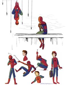 Spidey sketch dump thingymabob by she-sells-seagulls Spiderman Poses, Spiderman Girl, Deadpool X Spiderman, Amazing Spiderman, Spiderman Drawing, Marvel Art, Marvel Dc Comics, Marvel Heroes, Best Marvel Characters