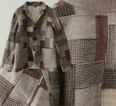 use and upcycle all wool menswear jackets to make patchwork fabric