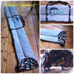 Fishing Rod Bags- these quilted soft rod bags are split to hold tip piece as well as rod/reel safely to protect the graphite tip.  Water resistant on the outside can be personalized.  Bag shown is 11x 56inches with fish patterned lining and strong canvas handles.  As shown $35.oo Visit my page to see more  www.facebook.com/MichellesSewbiz