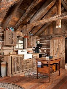 Rustic cabin kitchen cabin kitchens and baths rustic kitchen island rustic coun Log Cabin Living, Small Log Cabin, Little Cabin, Log Cabin Homes, Log Cabins, Rustic Cabins, Diy Log Cabin, Small Log Homes, Mountain Cabins