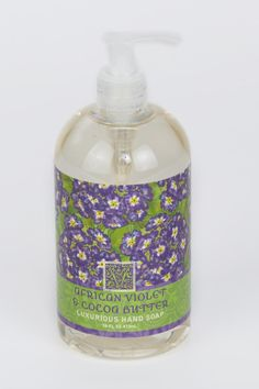 The African Violet Hand Soap is a luxurious spa products enriched with shea butter, cocoa butter and select essential oils & natural extracts in fresh botanical scents. Shea butter bottled hand soap is bottle topped with a pump.    Size: 16 fl oz   Violet Hand Soap by Greenwich Bay Trading Company. Home & Gifts - Gifts - Scents & Bath Wisconsin