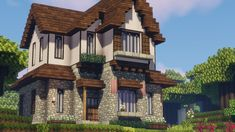 Minecraft Farmen, Minecraft Villa, Architecture Minecraft, Minecraft Building Guide, Minecraft House Plans, Minecraft Mansion, Minecraft Cottage, Minecraft Structures, Easy Minecraft Houses