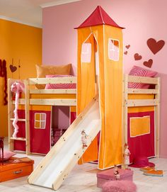 Children Bunk Bed with Slide: Minnie Natural Midsleeper Bed With Pink Tent Orange Tower And Slide – WarmOjo.com