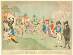 """Satire on the campaign to end the British slave trade: a Caribbean scene with enslaved Africans dancing happily watched by two white men and a white woman, while in the foreground an abolitionist admits to a man in military uniform that accounts of cruelty are merely the products of his own """"vile imagination"""". May 1792"""