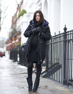 Acne Duvet Parka, Topshop Jersey Dress, Wolford Merino Tights, Acne Knit, Isabel Marant Boots