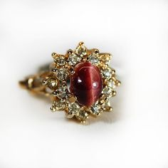 Vintage Genuine Red Tiger Eye Ring Surrounded by PVDVintageJewelry