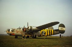 "B-24J-145-CO (serial number 44-40101) named ""TUBARAO"" of the 855th Bomb Squadron, 491st Bomb Group, used as a flight assembly ship. (FRE 6860)"