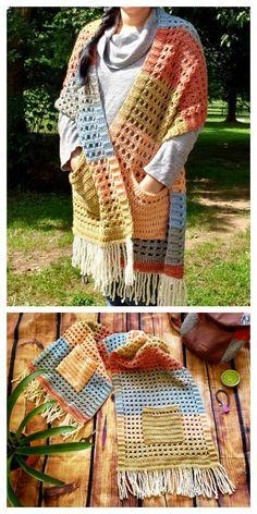 Poncho Au Crochet, Pull Crochet, Crochet Wrap Pattern, Crochet Shawls And Wraps, Crochet Blanket Patterns, Crochet Scarves, Crochet Clothes, Crochet Stitches, Crochet Sweaters