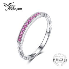 JewelryPalace 925 Sterling Silver Created Pink Sapphire Rope Band Stackable Ring Pink Sapphire for Women Engagement Ring On Sale Pink Sapphire Ring, Sapphire Jewelry, Pink Ring, Engagement Rings Sale, Engagement Gifts, 925 Silver, Sterling Silver, Silver Rings, Rings