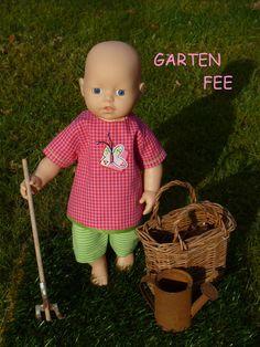 """Puppenkleidung - """"GartenFee"""" 2tlg Set Gr. 30-35cm - ein Designerstück von handgeschick bei DaWanda"""