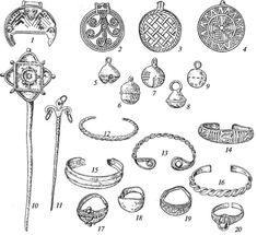 Массовые изделия ювелиров: 1 — лунница; 2-4 — привески; 5-9— бубенчики; 10, 11 — булавки; 12-16— браслеты; 17-20— перстни-Bulk products jewelers: 1 - lunnitsa; 2-4 - pendants; 5-9- bells; 10, 11 - pin; 12-16- bracelets; 17-20- rings