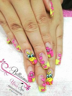 Love Nails, Fun Nails, Yellow Nail Art, Finger Nail Art, Nailart, Bright Nails, Stylish Nails, Beautiful Nail Art, French Nails