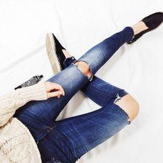 Fashion details, jeans, riped, espadriles