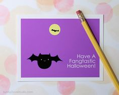 Cute Bat Happy Halloween Pun Card by SunnyDoveStudio #cute #kawaii #bat #halloween #cards #greetingcards #handmade #etsy