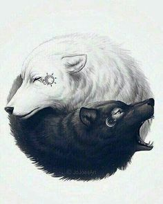 This is the best Yin-Yang! on We Heart It Wolf Tattoo Design, Tattoo Wolf, Two Wolves Tattoo, Wolf Girl Tattoos, Wolf Design, Arm Tattoo, Bruder Tattoo, Jing Y Jang, Wolf Sleeve