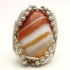 Handmade Sterling Silver Berry Wire Wrap Sardonyx Ring