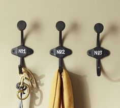 Numbered hooks inspired by a school house cloakroom