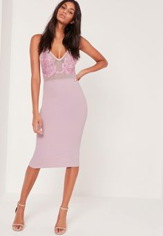 Missguided - Applique Mesh Strappy Midi Dress Lilac