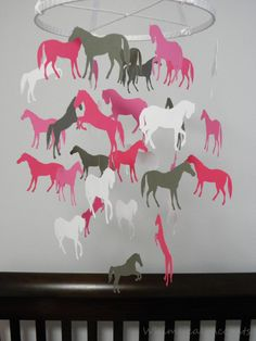 Horses Decorative Baby Mobile in Pinks and Gray.