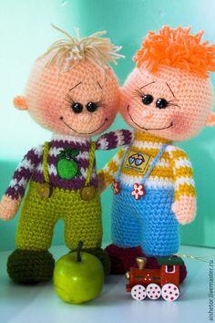 Купить Маленькие человечки, вязаные игрушки - гномики, подарки детям, авторская игрушка