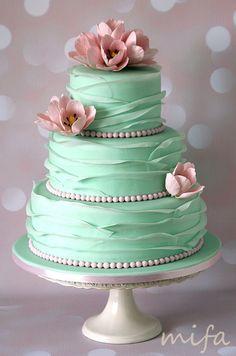 Mint Ruffle Wedding Cake with sugar tulips