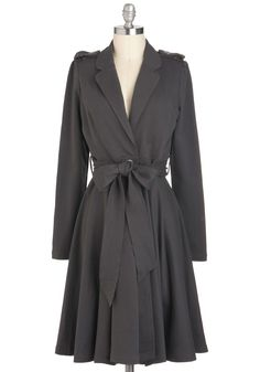 Charcoal It a Comeback Coat - Long, Cotton, Grey, Solid, Long Sleeve, Fall, 2, Work, Casual, Menswear Inspired, Vintage Inspired