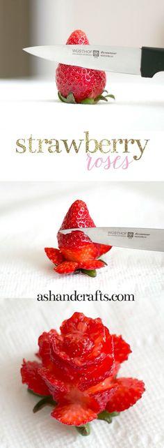 """Flor de morango   Meninas dica: peguem uma faca fininha, e não cortem muito próximo um do outro, se não perde as """"pétalas"""""""