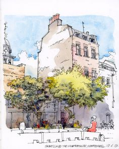 Sketching with the London Urban Sketchers group at The Charterhouse, Clerkenwell, London. Watercolor Architecture, Architecture Sketchbook, Art And Architecture, Pen And Watercolor, Watercolor Landscape, Watercolor Paintings, Watercolor Trees, Watercolor Portraits, Watercolor Artists