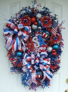 Reserved for Danette, XL Patriotic wreath, of July wreath, Floral wreath… Patriotic Wreath, Patriotic Decorations, 4th Of July Wreath, Patriotic Crafts, Memorial Day Wreaths, Independance Day, Wreath Crafts, Wreath Ideas, July Crafts