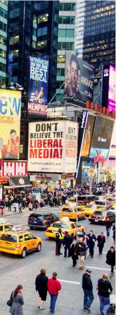 """TimesSquare ,New York- love the """"Media"""" billboard! So true!!"""