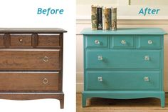 before-after-turquoise-dresser | For tv console