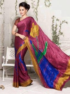 Magenta Jacquard Saree With Print Work www.saree.com