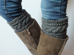 Gray Hand  Knit  Boot Cuffs Boot Toppers Leg Warmers by DachuksB