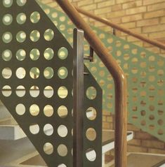 Perforated Metal Large Holes  Perforated steel is extremely versatile and applies itself to a variety of applications such as balustrade infill panels, railings infill panels, acoustics and sound proofing, security screens, louvres and ventilation, and air conditioning grilles.    #sheet #steel #perforatedmetal #mesh #sheets #metal #handrail #perforated Metal Railings, Stair Railing, Stairs, Security Screen, Perforated Metal, Shop Fittings, Metal Mesh, Sound Proofing, Stage Design