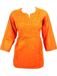 Mogul Womans Indian Kurta Rust Embroidered Cotton Boho Blouse Tops M