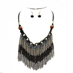 Fashion dangling fringe beaded bib statement necklace set Features Tribal Bohemian vibe statement Bib Mixed glass, wood and cord necklace earrings set Tribal Boho Chic Beaded Gray Black Fringe Silver Wood Beads Braided Bohemian Statement Necklace Set Color : Gold, Gray, Silver, Gold and Brown. Theme : Fringe, Wood Bohemian Vibe. Necklace Length : 19″ […]