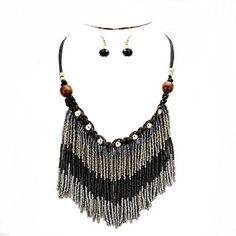 Tribal Boho Chic Beaded Gray Black Fringe Silver Wood Beads Braided Bohemian Statement Necklace Set - Home Necklace Lengths, Necklace Set, Colored Braids, Boho Chic, Boho Style, Boho Earrings, Bohemian Jewelry, Earring Set, Boho Fashion