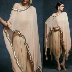 Dhoti style pants and asymmetric cape