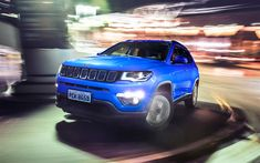 Download wallpapers Jeep Compass Longitude, 4k, night, motion blur, Jeep Compass, new Compass, Jeep