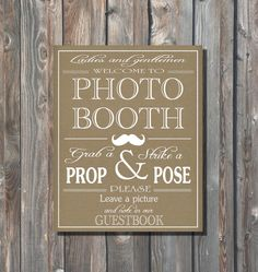 Wedding Photo Booth Sign–Guestbook Sign–Printable Photo Booth Sign–Rustic Kraft Sign–8x10 Photo Booth Sign–Instant Download