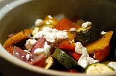 Roasted Vegetables and Feta from Food.com: Healthy roasted vegetable side dish, recipe from Health Check website.