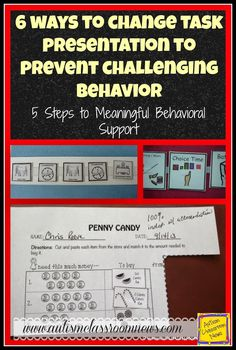 6 Ways to Change Task Presentation to Prevent Challenging Behavior: Antecedent Strategies by Autism Classroom News at http://www.autismclassroomnews.com