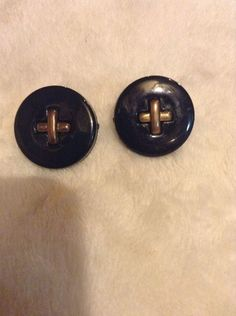 Vintage Black And Gold Clip On Earrings #1023