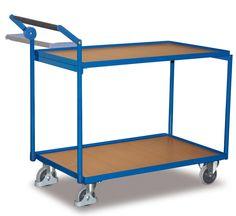 GTARDO.DE:  Tischwagen mit 2 Ladeflächen, Tragkraft 250 kg, Ladefläche 1000 x 600 mm, Maße 1125 x 624 x 980 mm, Rad 125 mm 250,00 €