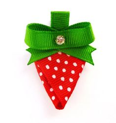 Strawberry Hair Clip Made with grosgrain ribbon and a clear rhinestone for added sparkle. attached to a partially lined alligator clip. measuring aprox.2 inches