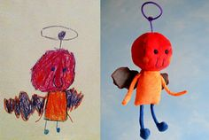 Kids' drawings become toy. The Best Present Ever!         子供たちの目にはこういう生き物が見えているんでしょうか?「Child's Own Studio」は子供が描いた絵をそのままぬいぐ...